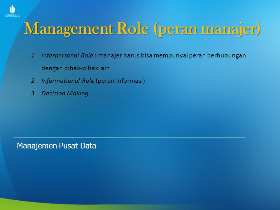 Management Role (peran manajer)