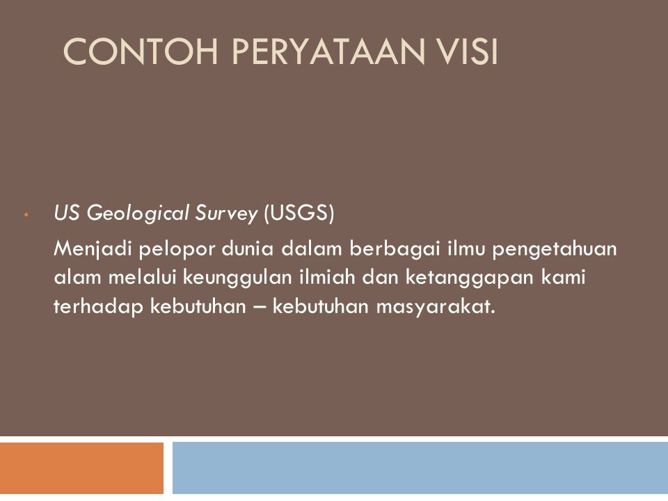 Contoh Peryataan Visi US Geological Survey (USGS)