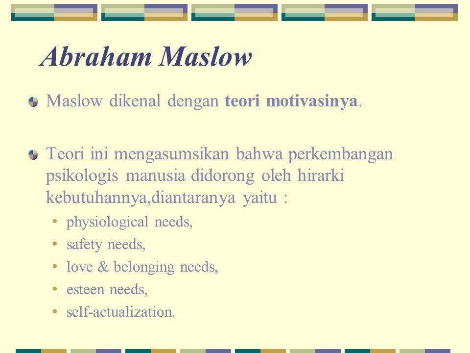 Abraham Maslow Maslow dikenal dengan teori motivasinya.
