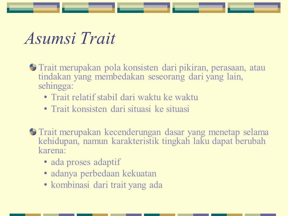 Asumsi Trait Trait merupakan pola konsisten dari pikiran, perasaan, atau tindakan yang membedakan seseorang dari yang lain, sehingga: