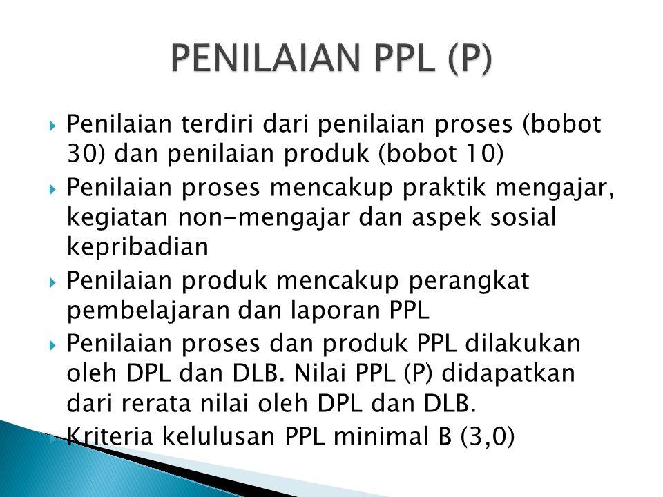 PENILAIAN PPL (P) Penilaian terdiri dari penilaian proses (bobot 30) dan penilaian produk (bobot 10)