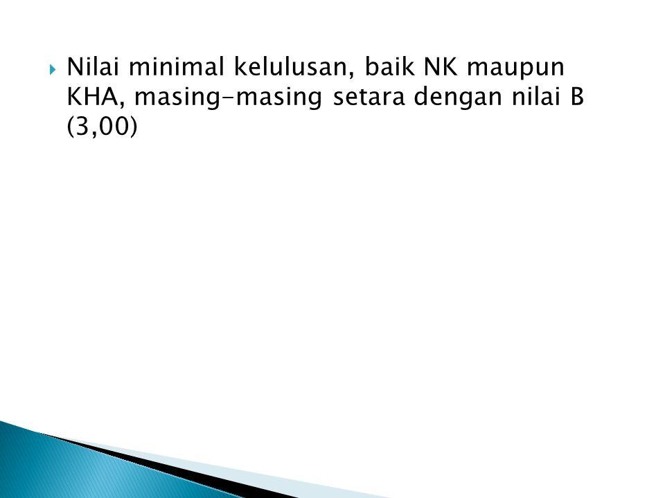 Nilai minimal kelulusan, baik NK maupun KHA, masing-masing setara dengan nilai B (3,00)