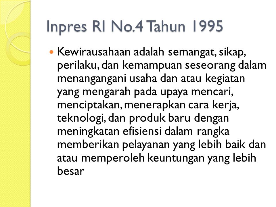 Inpres RI No.4 Tahun 1995