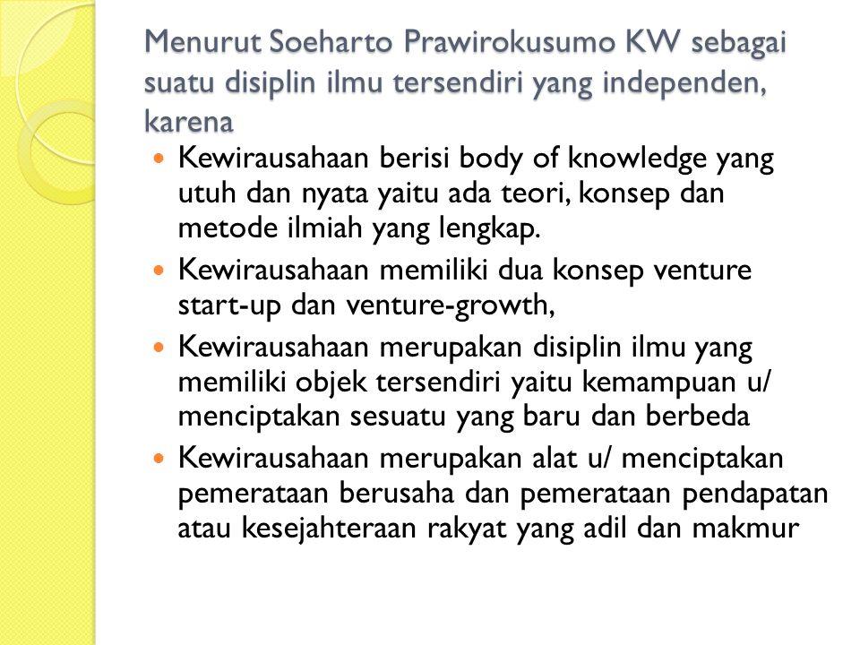 Menurut Soeharto Prawirokusumo KW sebagai suatu disiplin ilmu tersendiri yang independen, karena