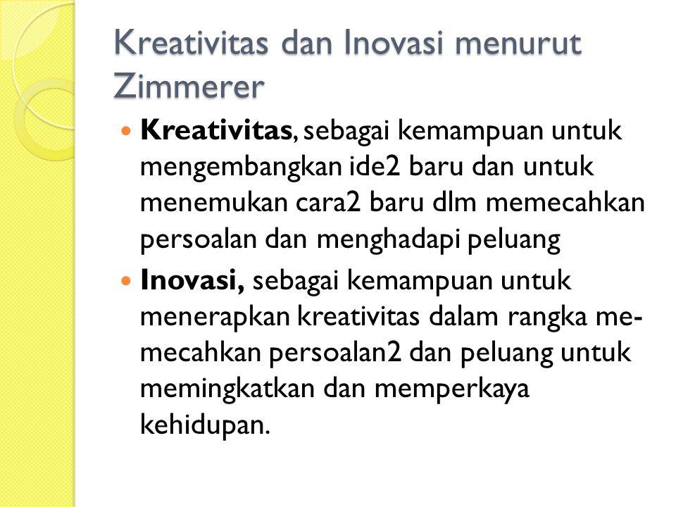 Kreativitas dan Inovasi menurut Zimmerer