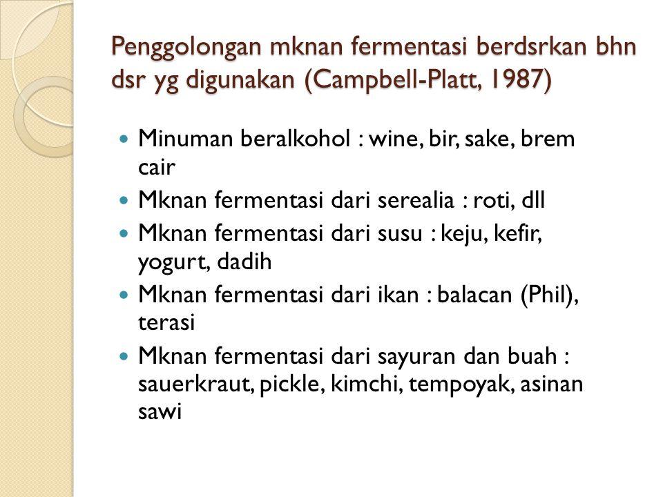 Penggolongan mknan fermentasi berdsrkan bhn dsr yg digunakan (Campbell-Platt, 1987)