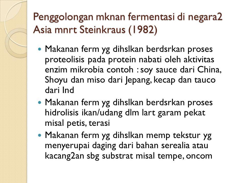Penggolongan mknan fermentasi di negara2 Asia mnrt Steinkraus (1982)