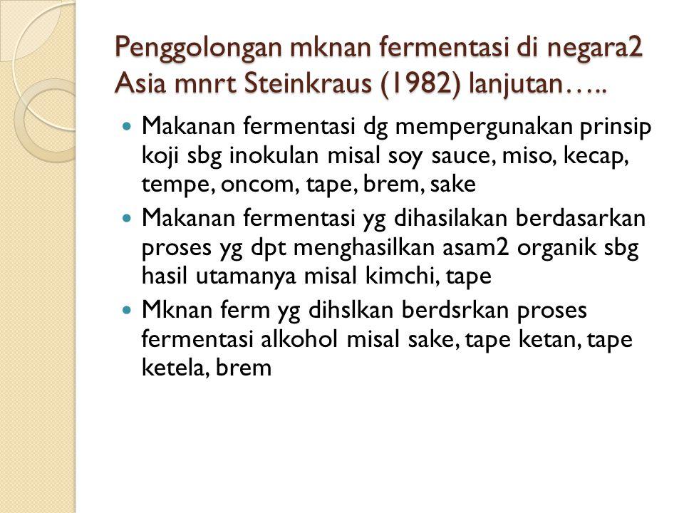 Penggolongan mknan fermentasi di negara2 Asia mnrt Steinkraus (1982) lanjutan…..