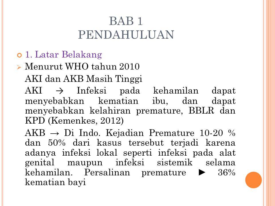BAB 1 PENDAHULUAN 1. Latar Belakang Menurut WHO tahun 2010