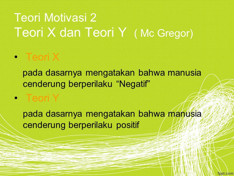 Teori Motivasi 2 Teori X dan Teori Y ( Mc Gregor)