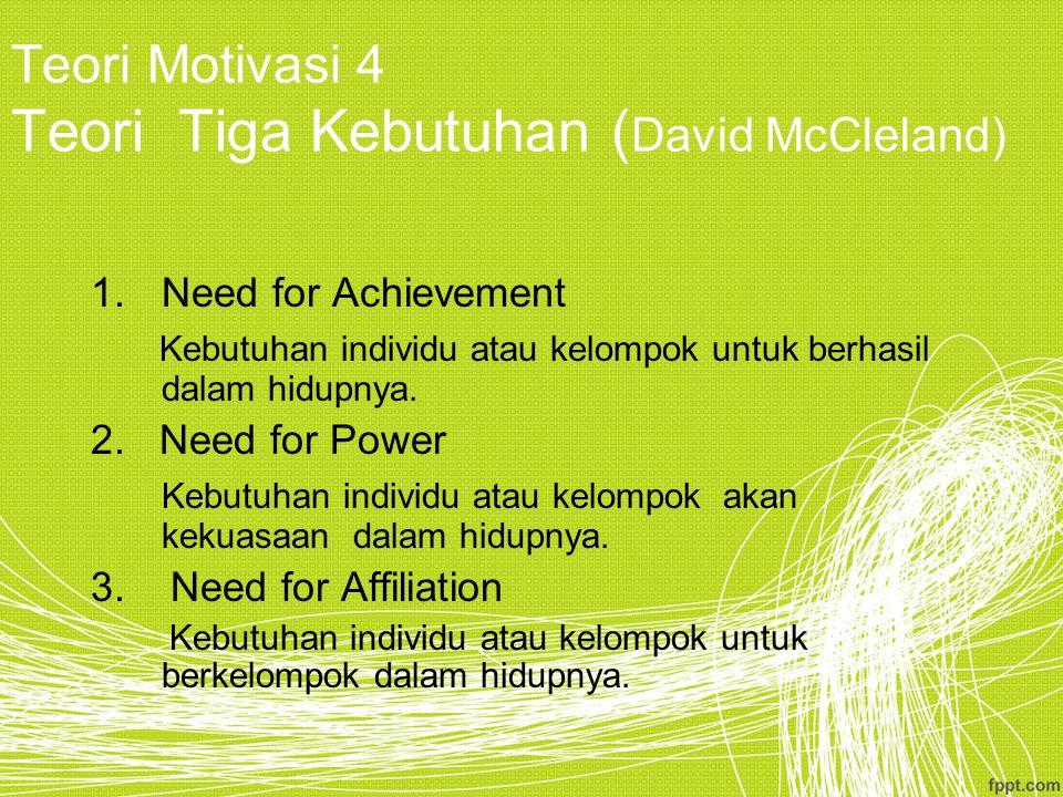 Teori Motivasi 4 Teori Tiga Kebutuhan (David McCleland)