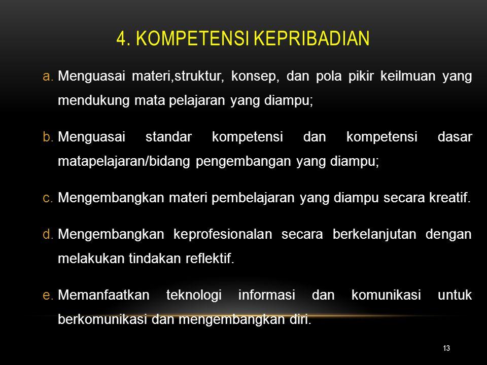 4. kompetensi kepribadian