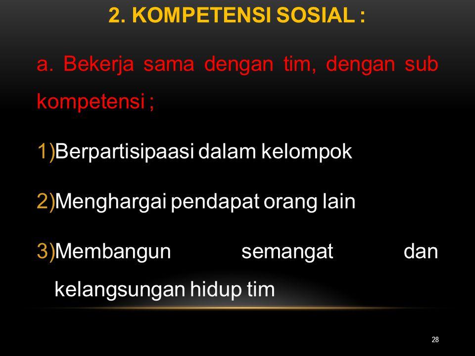 2. Kompetensi Sosial : a. Bekerja sama dengan tim, dengan sub kompetensi ; Berpartisipaasi dalam kelompok.