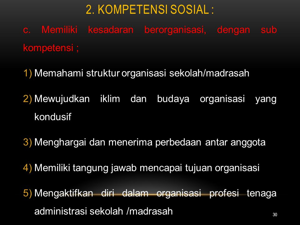 2. Kompetensi Sosial : c. Memiliki kesadaran berorganisasi, dengan sub kompetensi ; Memahami struktur organisasi sekolah/madrasah.