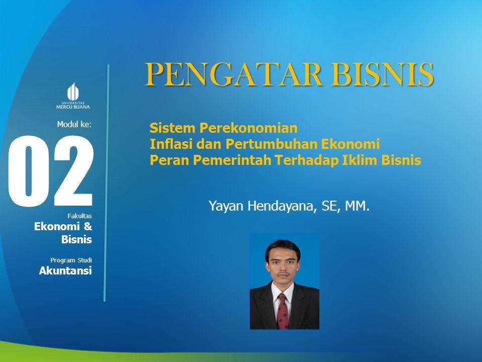 02 PENGATAR BISNIS Sistem Perekonomian Inflasi dan Pertumbuhan Ekonomi