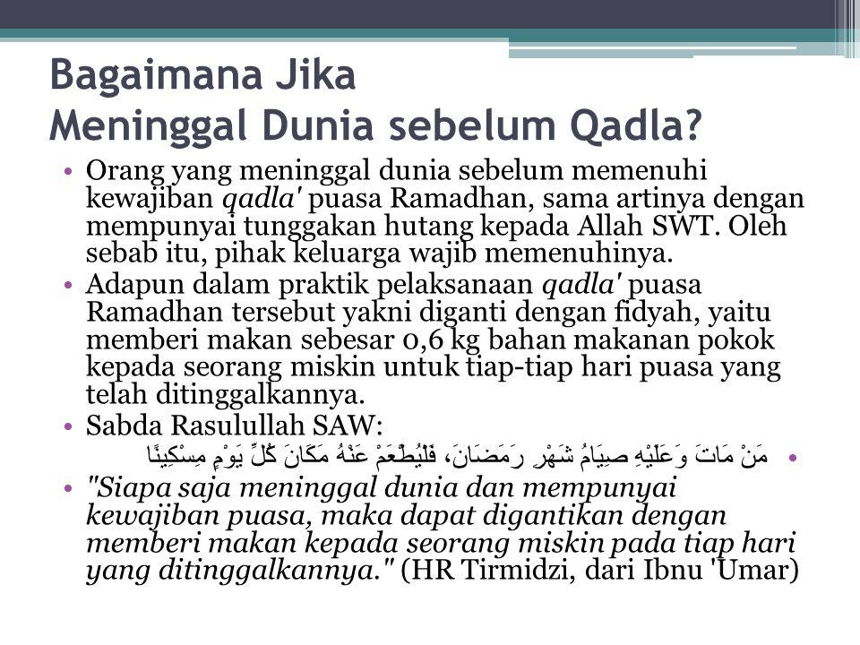 Bagaimana Jika Meninggal Dunia sebelum Qadla