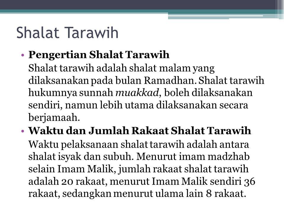 Shalat Tarawih Pengertian Shalat Tarawih