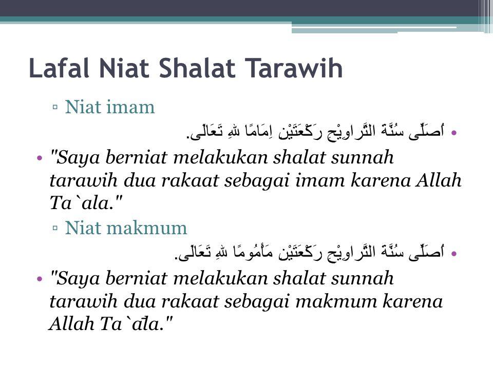 Lafal Niat Shalat Tarawih
