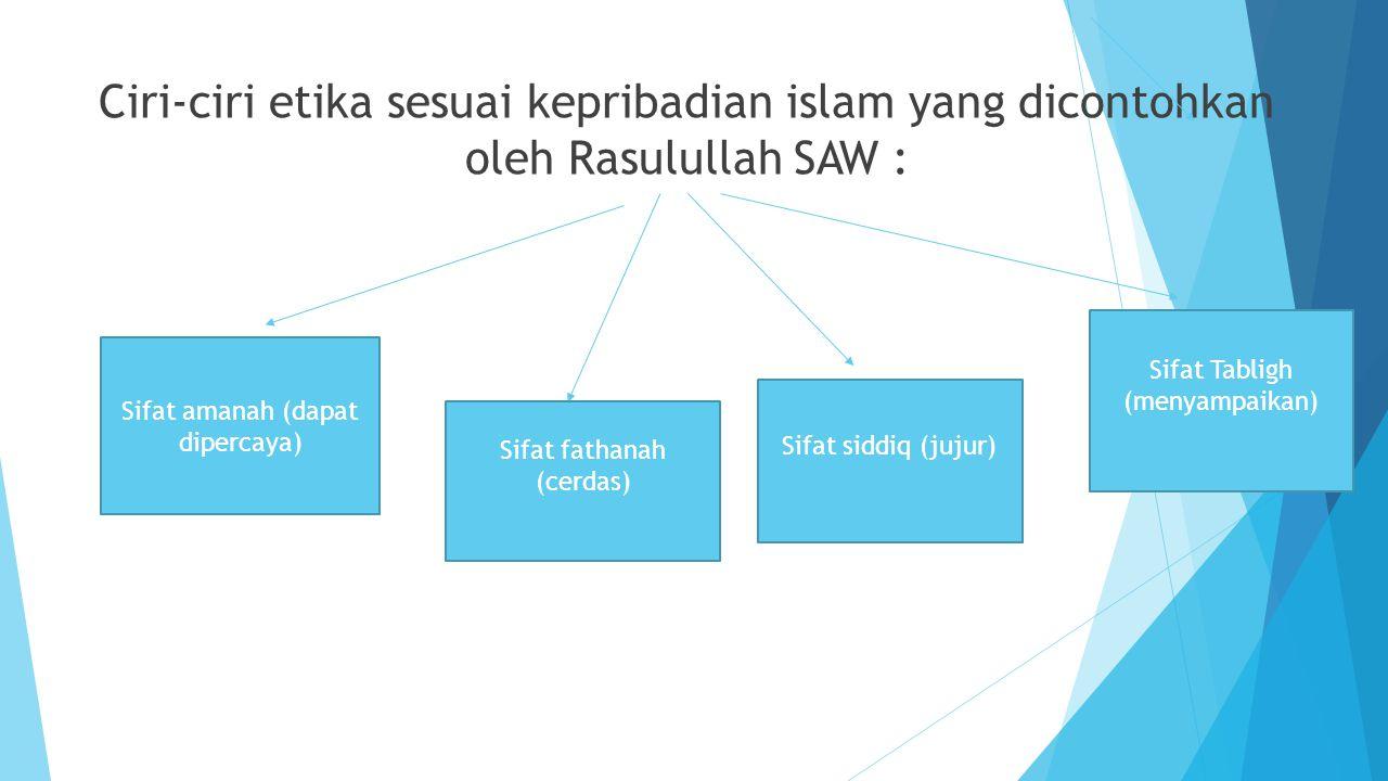 Ciri-ciri etika sesuai kepribadian islam yang dicontohkan oleh Rasulullah SAW :
