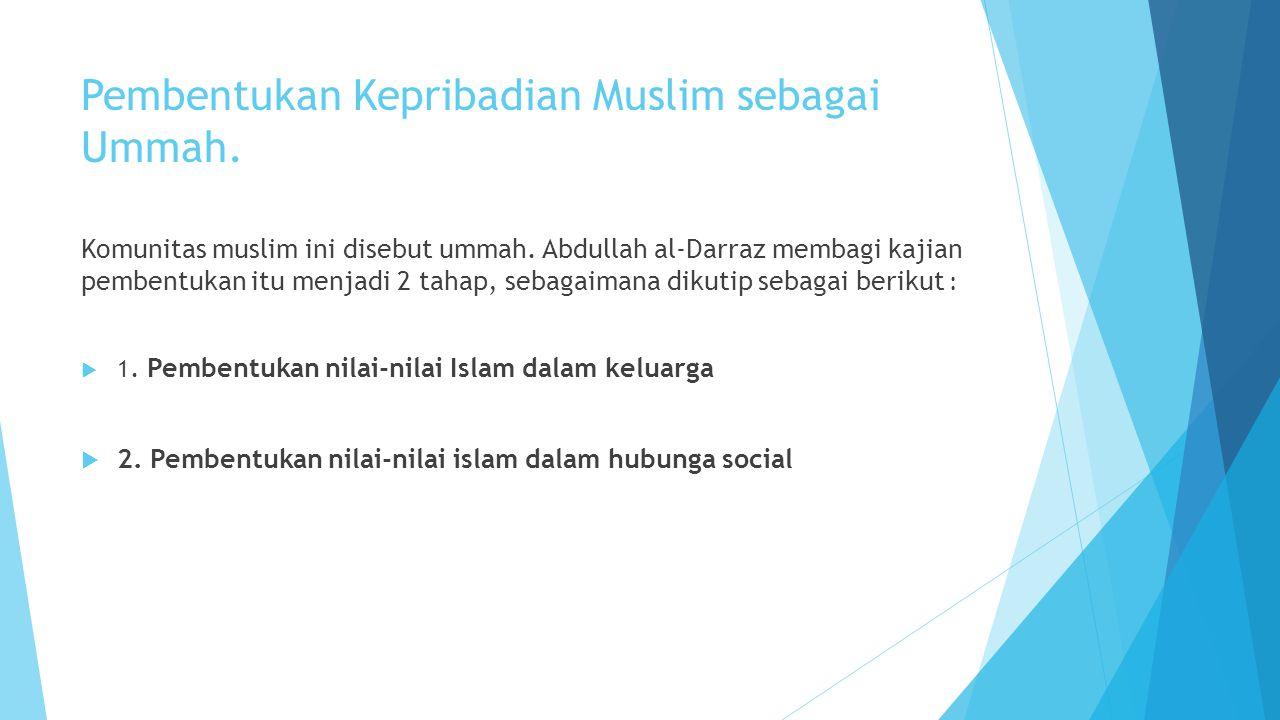 Pembentukan Kepribadian Muslim sebagai Ummah.