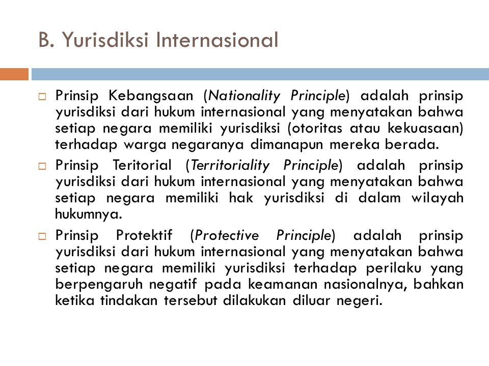 B. Yurisdiksi Internasional