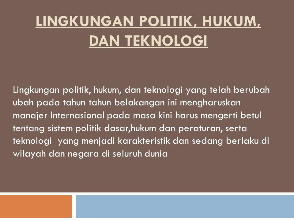 LINGKUNGAN POLITIK, HUKUM, DAN TEKNOLOGI