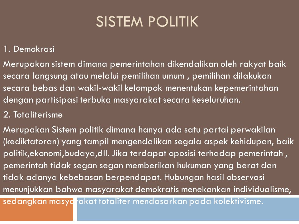 Sistem Politik 1. Demokrasi