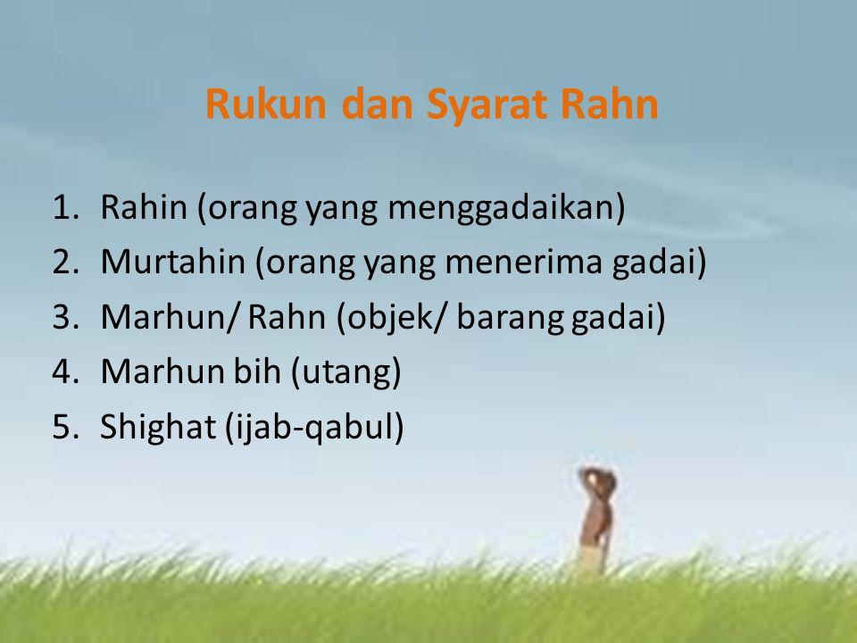 Rukun dan Syarat Rahn Rahin (orang yang menggadaikan)