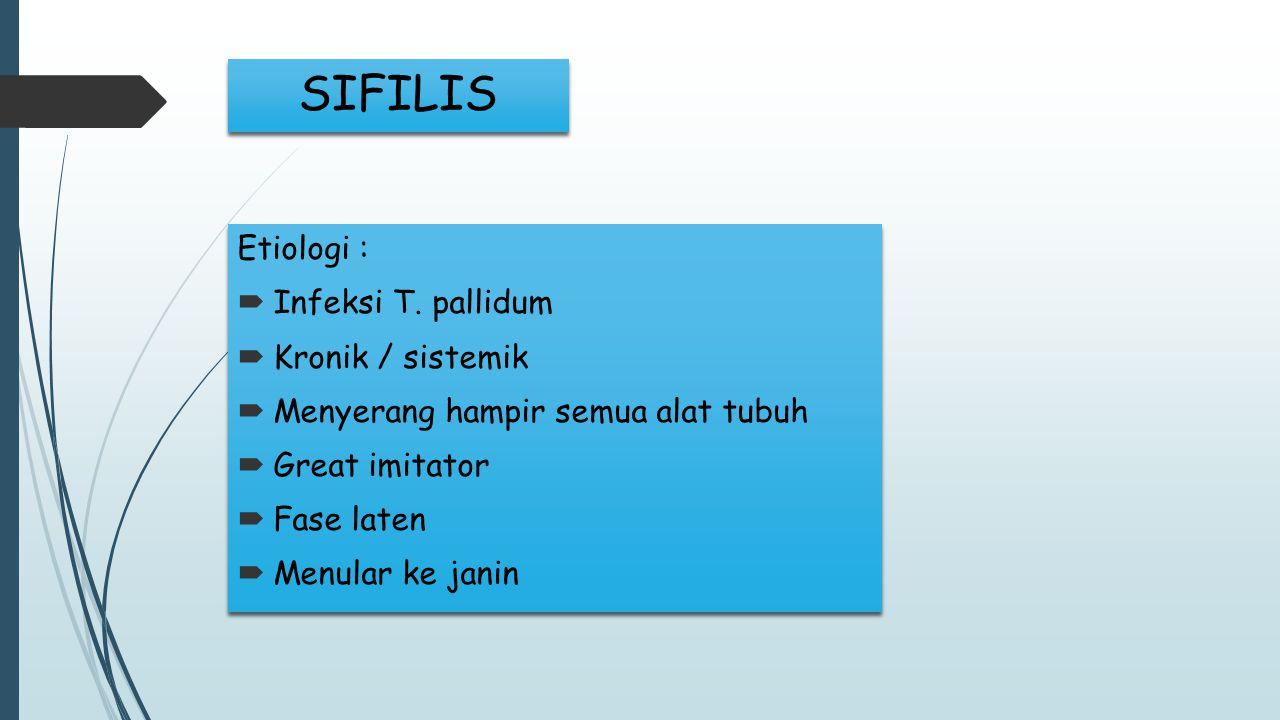 SIFILIS Etiologi : Infeksi T. pallidum Kronik / sistemik