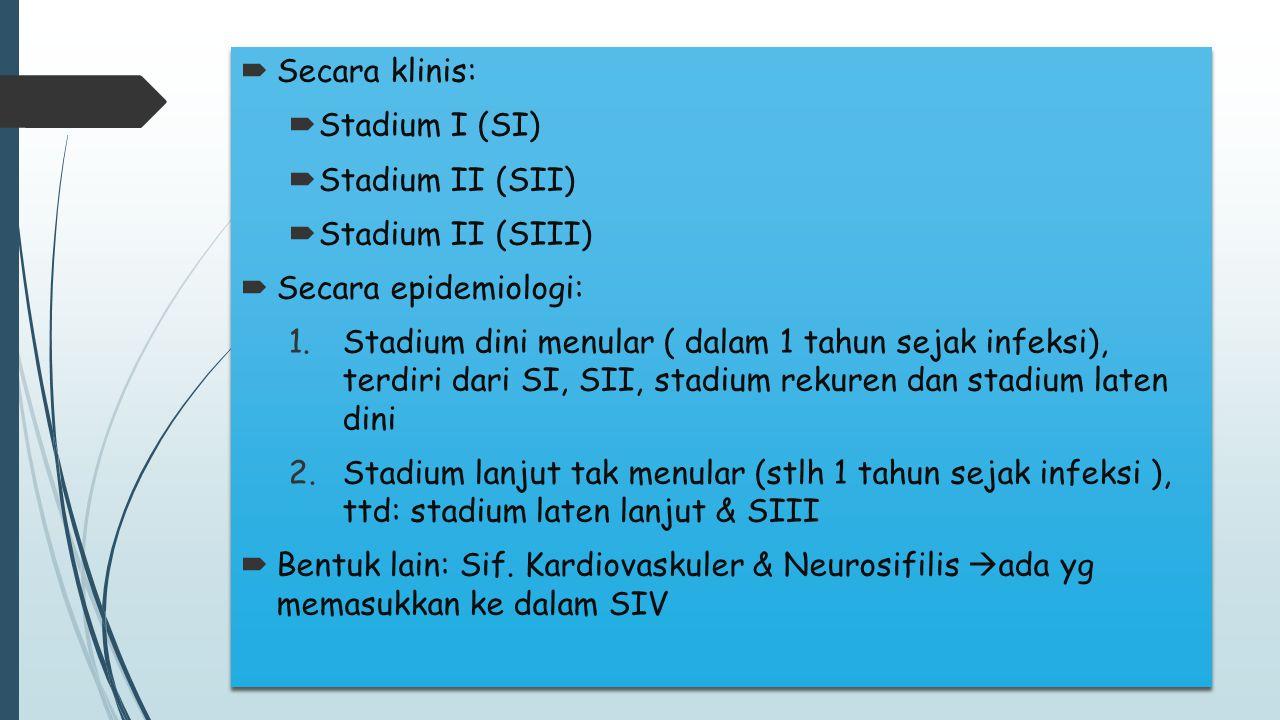 Secara klinis: Stadium I (SI) Stadium II (SII) Stadium II (SIII) Secara epidemiologi: