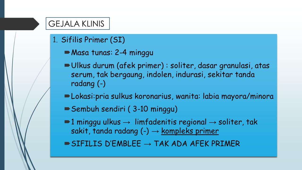 GEJALA KLINIS Sifilis Primer (SI) Masa tunas: 2-4 minggu