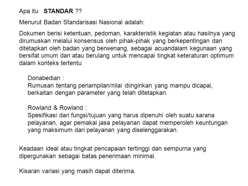 Apa itu STANDAR Menurut Badan Standarisasi Nasional adalah: