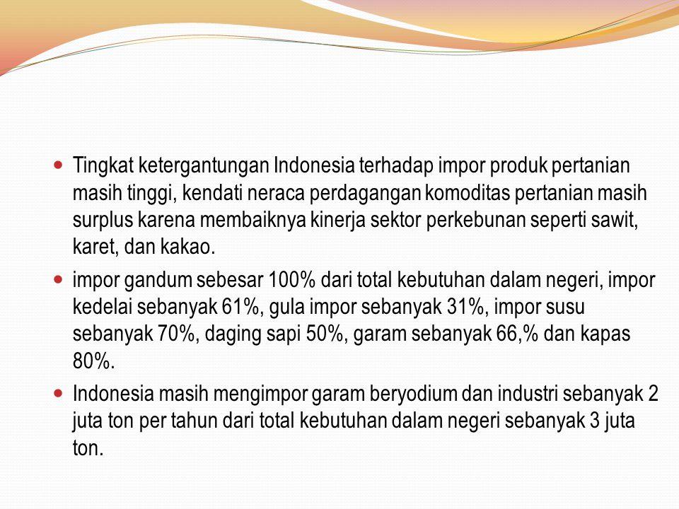 Tingkat ketergantungan Indonesia terhadap impor produk pertanian masih tinggi, kendati neraca perdagangan komoditas pertanian masih surplus karena membaiknya kinerja sektor perkebunan seperti sawit, karet, dan kakao.
