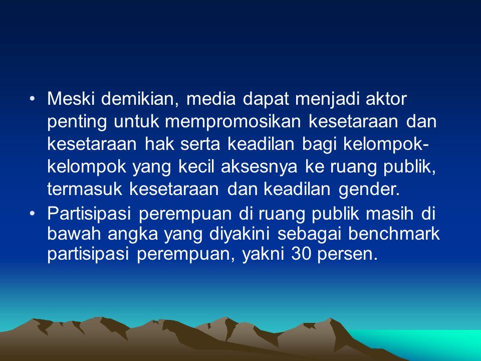 Meski demikian, media dapat menjadi aktor penting untuk mempromosikan kesetaraan dan kesetaraan hak serta keadilan bagi kelompok-kelompok yang kecil aksesnya ke ruang publik, termasuk kesetaraan dan keadilan gender.