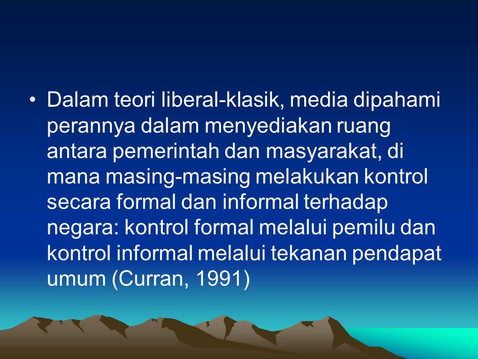 Dalam teori liberal-klasik, media dipahami perannya dalam menyediakan ruang antara pemerintah dan masyarakat, di mana masing-masing melakukan kontrol secara formal dan informal terhadap negara: kontrol formal melalui pemilu dan kontrol informal melalui tekanan pendapat umum (Curran, 1991)