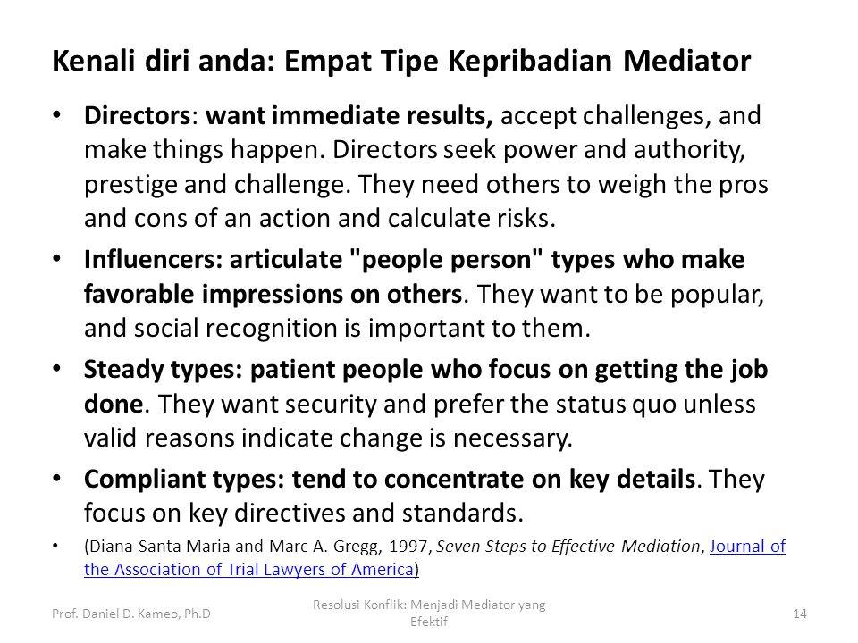 Kenali diri anda: Empat Tipe Kepribadian Mediator