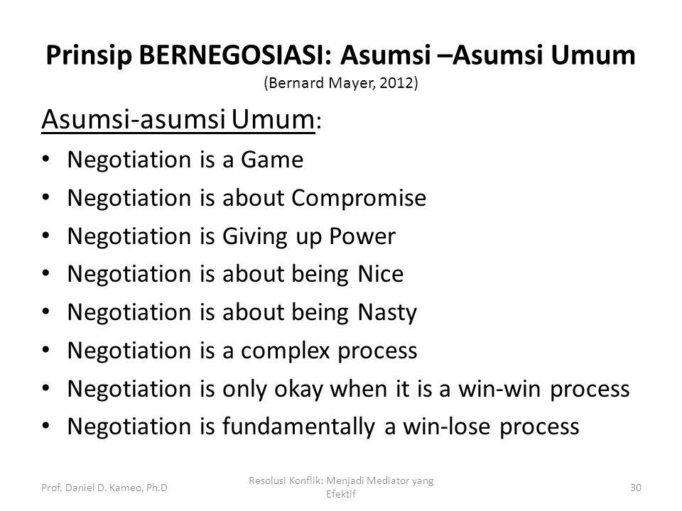 Prinsip BERNEGOSIASI: Asumsi –Asumsi Umum (Bernard Mayer, 2012)