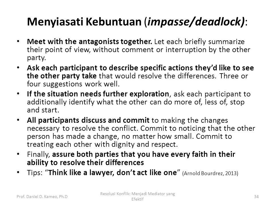 Menyiasati Kebuntuan (impasse/deadlock):