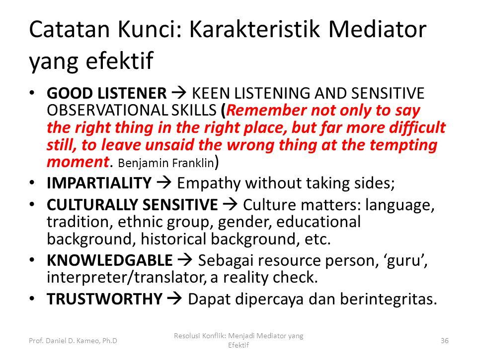 Catatan Kunci: Karakteristik Mediator yang efektif