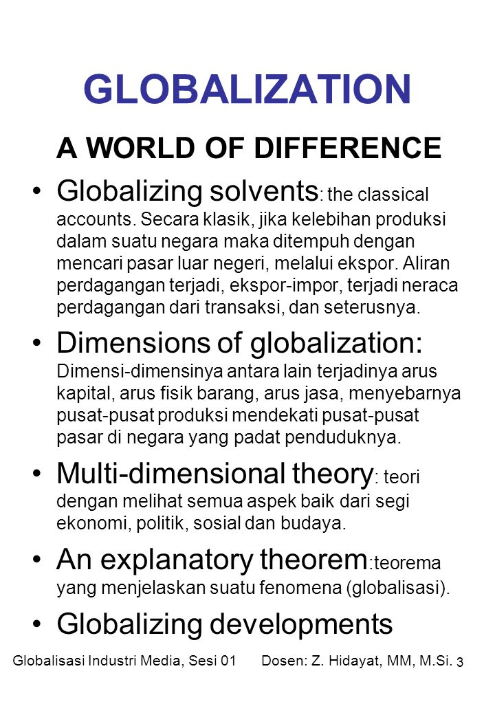 GLOBALIZATION A WORLD OF DIFFERENCE