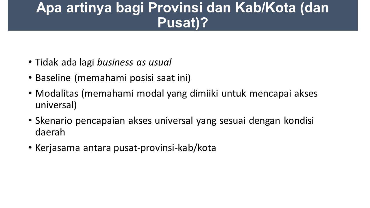 Apa artinya bagi Provinsi dan Kab/Kota (dan Pusat)