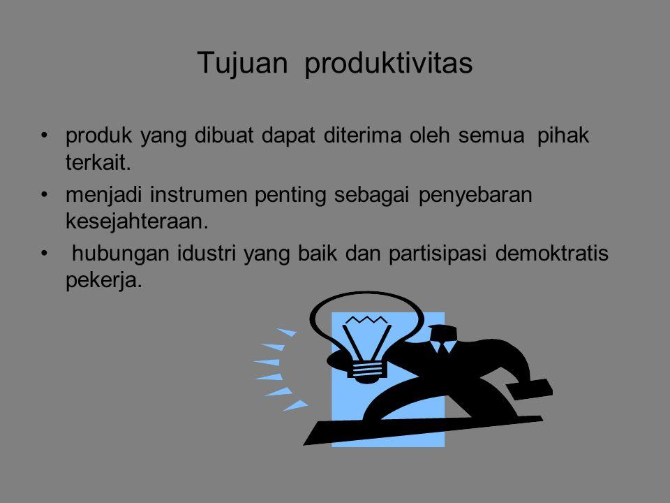 Tujuan produktivitas produk yang dibuat dapat diterima oleh semua pihak terkait. menjadi instrumen penting sebagai penyebaran kesejahteraan.