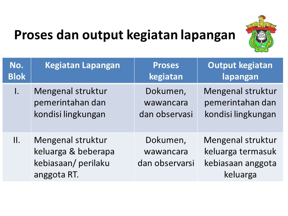 Proses dan output kegiatan lapangan
