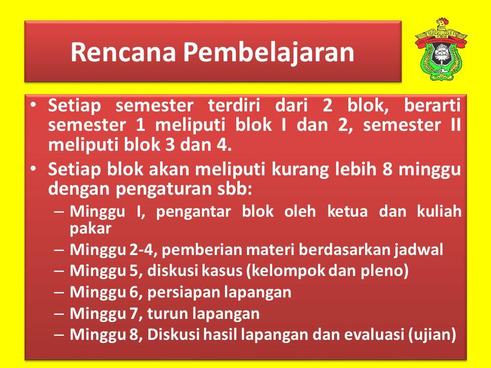 Rencana Pembelajaran Setiap semester terdiri dari 2 blok, berarti semester 1 meliputi blok I dan 2, semester II meliputi blok 3 dan 4.