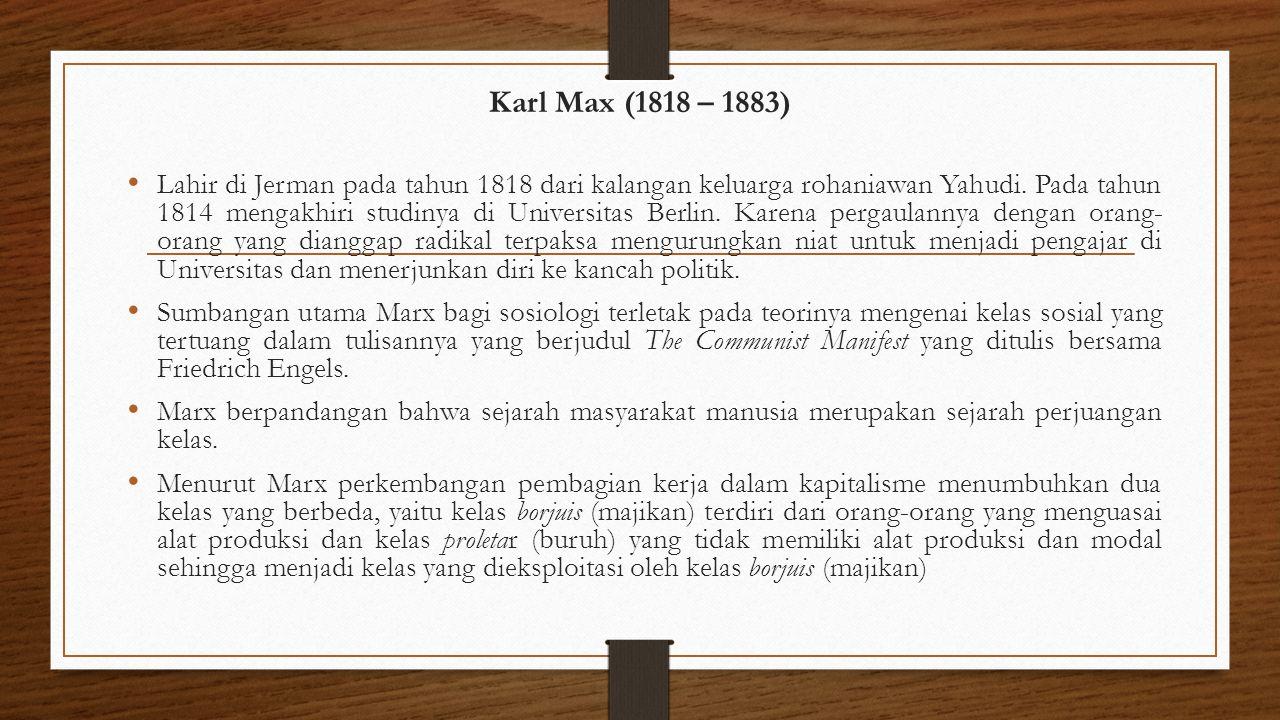 Karl Max (1818 – 1883)