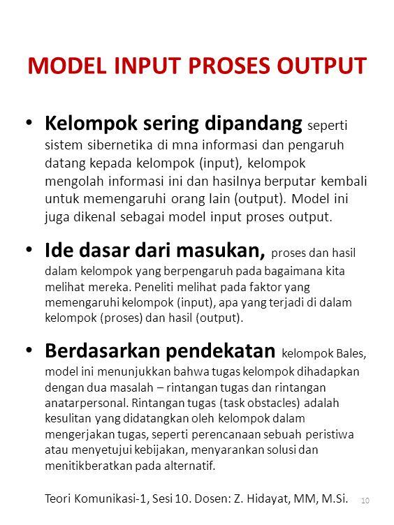 MODEL INPUT PROSES OUTPUT
