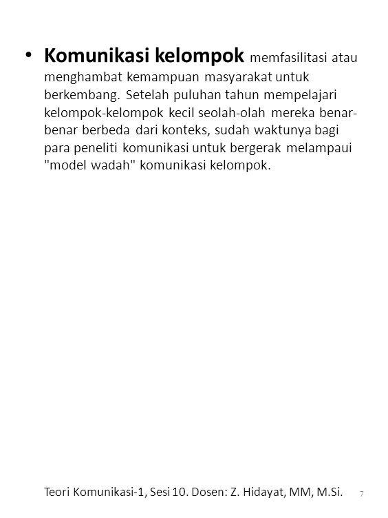 Teori Komunikasi-1, Sesi 10. Dosen: Z. Hidayat, MM, M.Si.