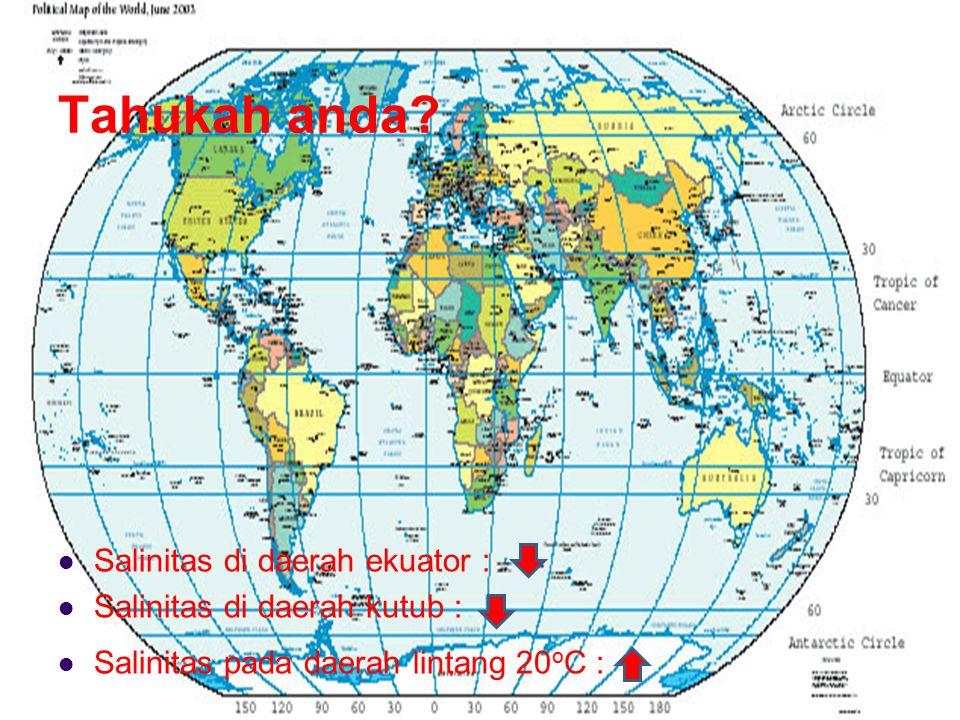 Tahukah anda Salinitas di daerah ekuator :