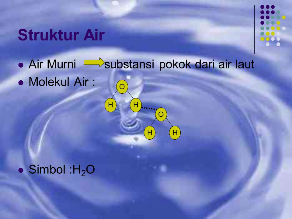 Struktur Air Air Murni substansi pokok dari air laut Molekul Air :