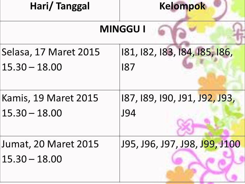 Hari/ Tanggal Kelompok. MINGGU I. Selasa, 17 Maret 2015. 15.30 – 18.00. I81, I82, I83, I84, I85, I86, I87.